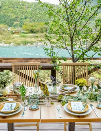 Sakura Table by the river